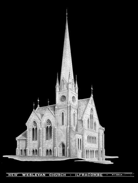An architects drawing of the new church originally projected for the Ropery